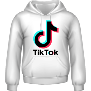 Tik Tok Printed Hoodie White Unisex 5