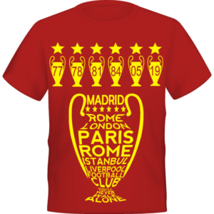 LIVERPOOL 6 European CUPS 6 STARS RETRO LFC FOOTBALL TSHIRT 9